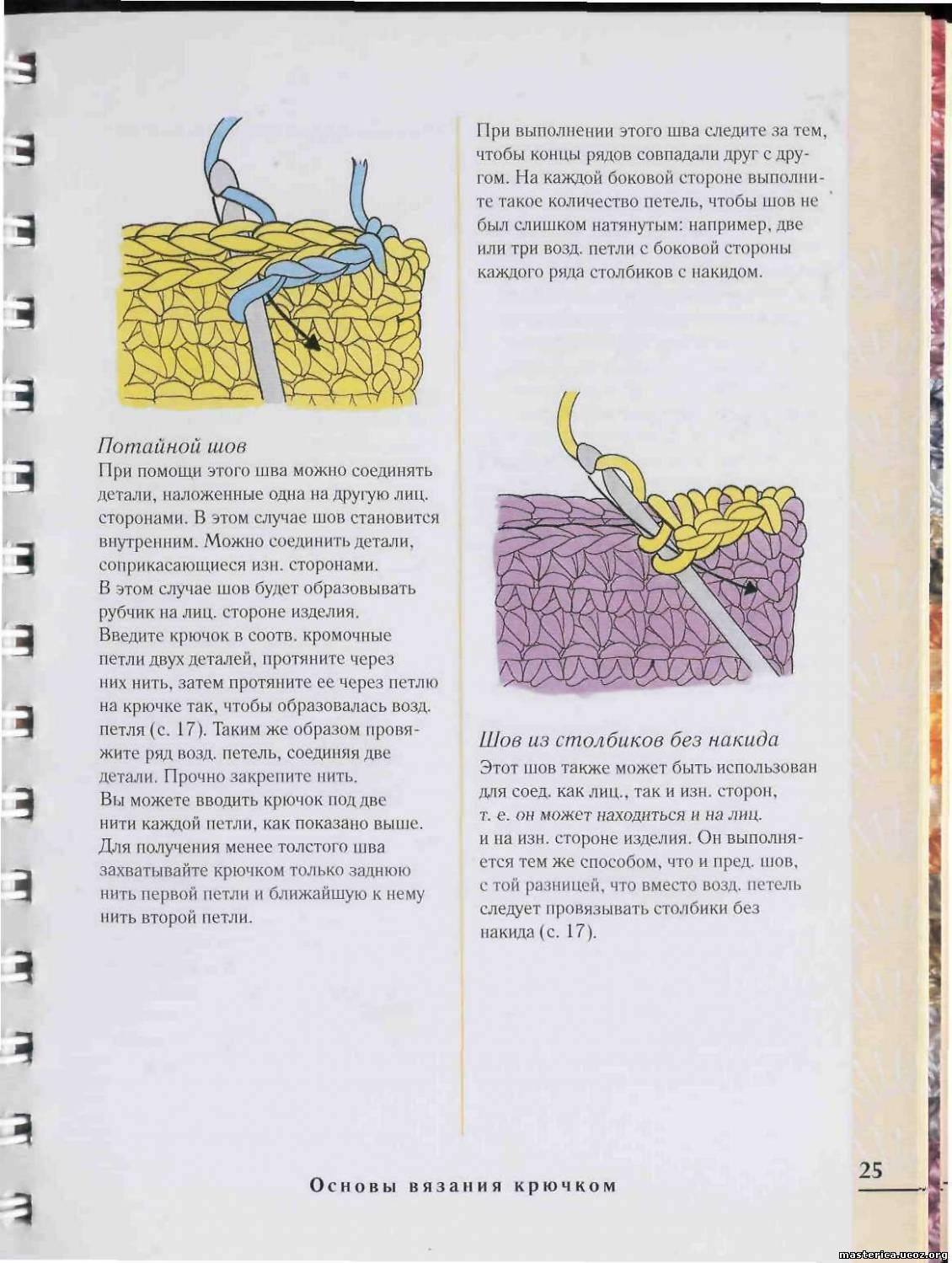 Как сшить вязаные детали изделия крючком