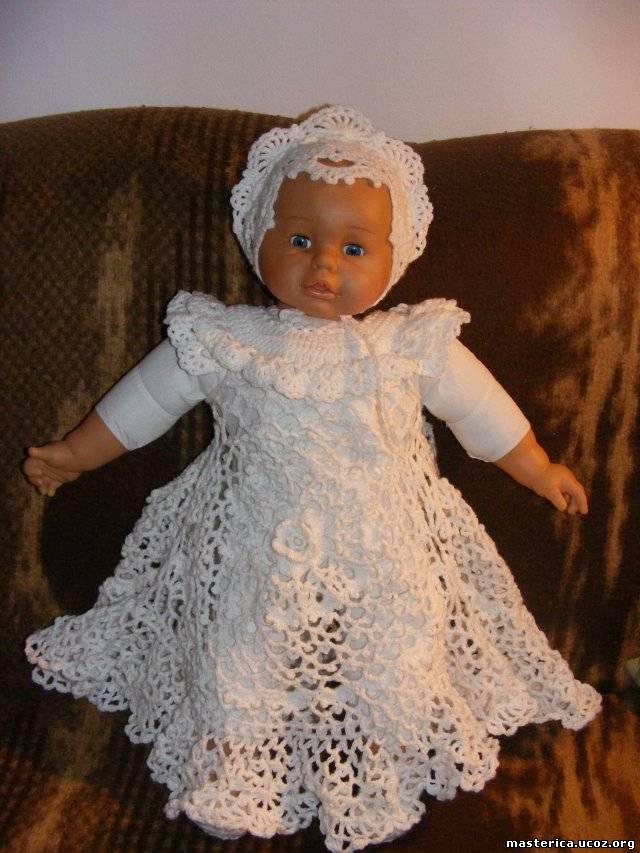 Вязание крючком крестильного платья для девочек 742