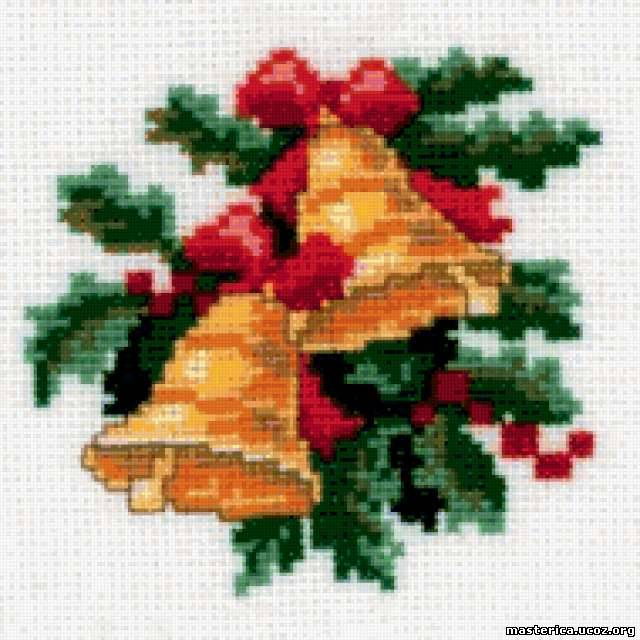 Вышивка новогоднего колокольчика