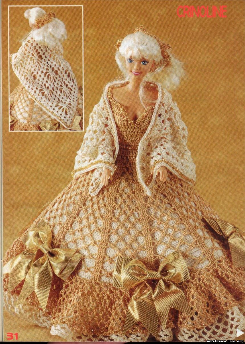 Вязание платьев на барби крючком 196