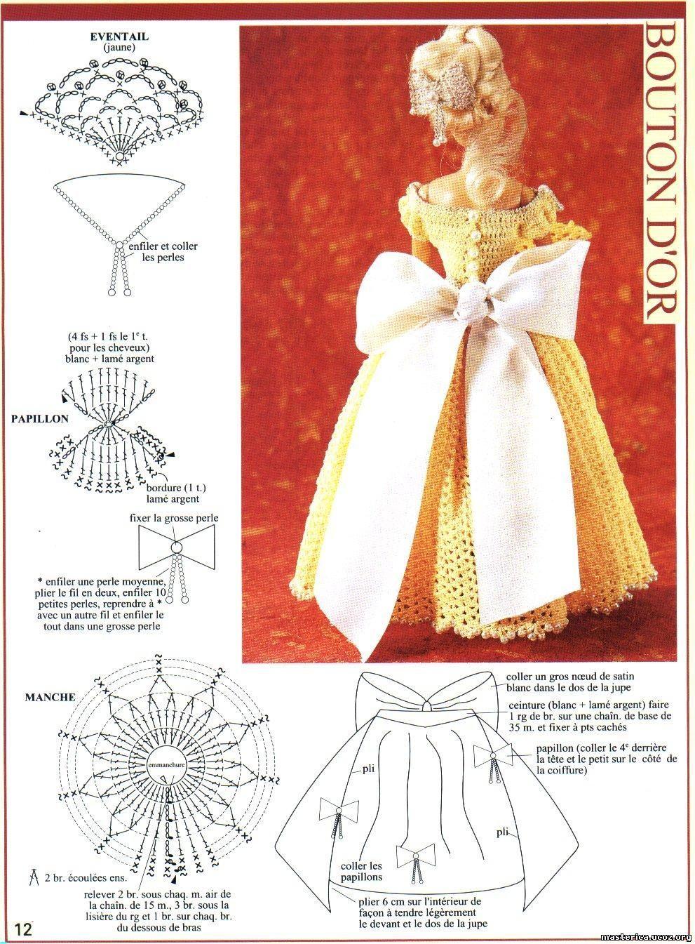 Схема вязания одежды на барби