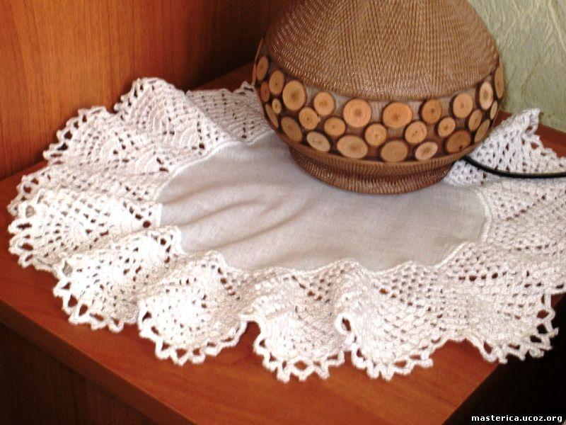 текстильная салфетка с вязаной каймой