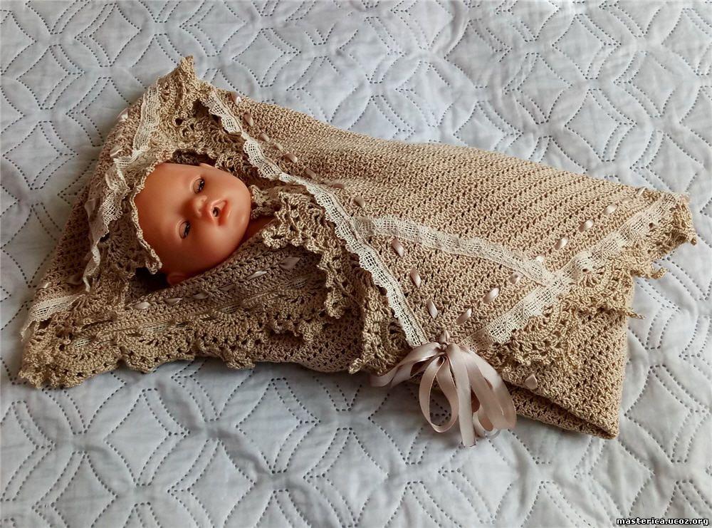 Детский плед крючком с малышом