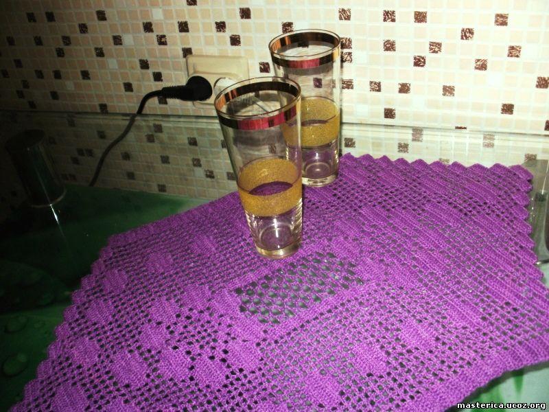 салфетка крючком, филейное вязание
