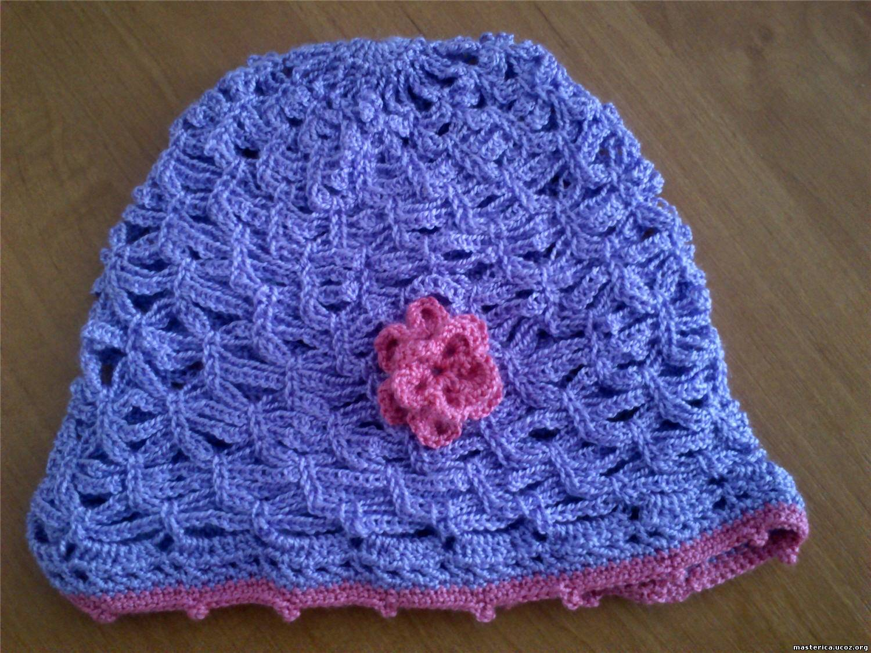 Вязаная ажурная шапочка для девочки крючком - Вязание крючком