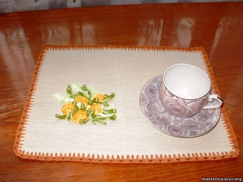 чайная салфетка с вышивкой