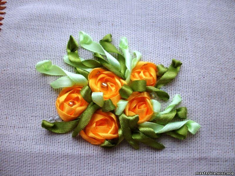 желтые цветы - вышивка лентами