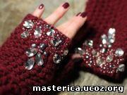 Как украсить перчатки стразами своими руками 37