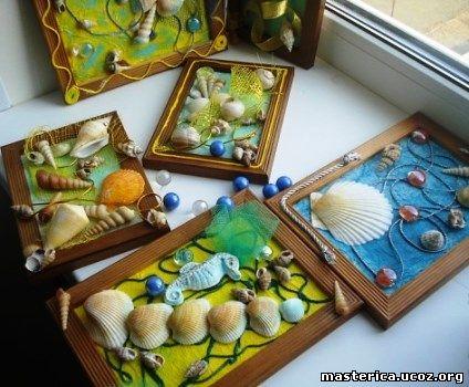 Панно из морских ракушек и камней своими руками